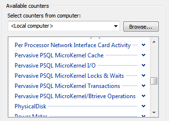 Analyzing Performance Display Pervasive PSQL Data Collector Sets 1 Start Windows Performance Monitor.