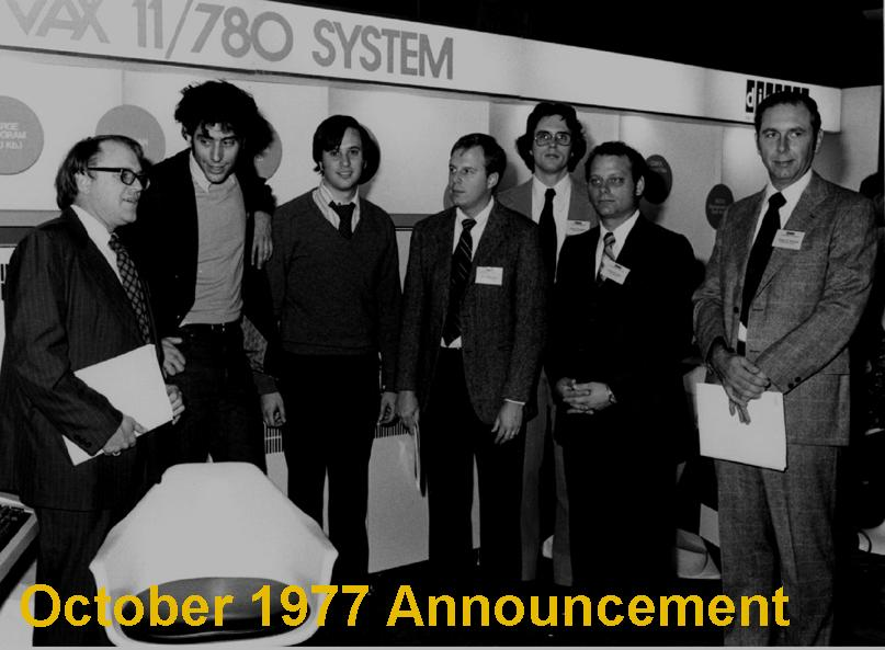 1977 - The first version The collusion of the Star and Starlet projects culminated in the VAX 11/780 computer and the VAX-11/VMS