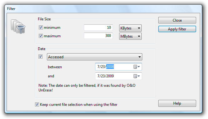 Getting started Applying a filter Selecting a Target Folder To recover selected files you need to enter a saving location.