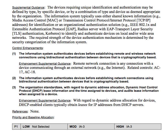 Figure 10 below illustrates an example for Device Identification and Authentication security control selection via the Recommended Security Controls for Federal Information Systems and Organizations