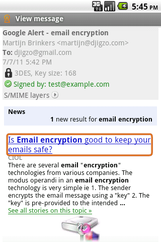 Figure 8: Android S/MIME decrypted HTML message. Contact information info@ciphermail.