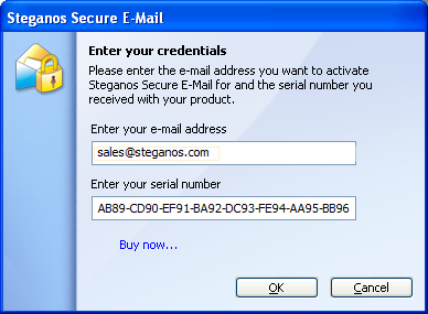 USE OF STEGANOS SECURE E-MAIL In the following window, please enter in the top field the e-mail address you would like to use to send and receive encrypted e-mails.