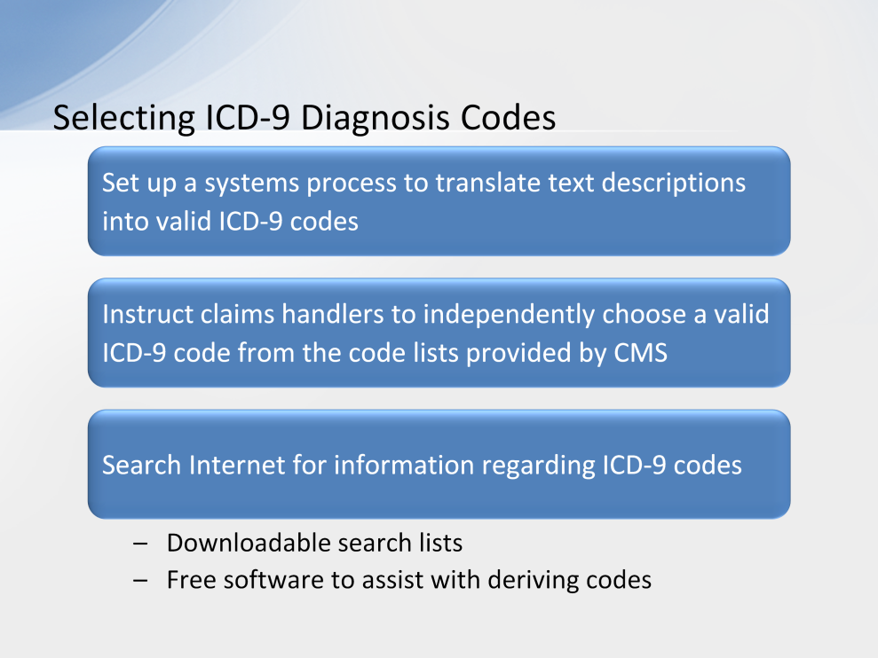 RREs may choose to set up a systems process to translate text descriptions of illnesses or injuries into valid ICD-9 codes.