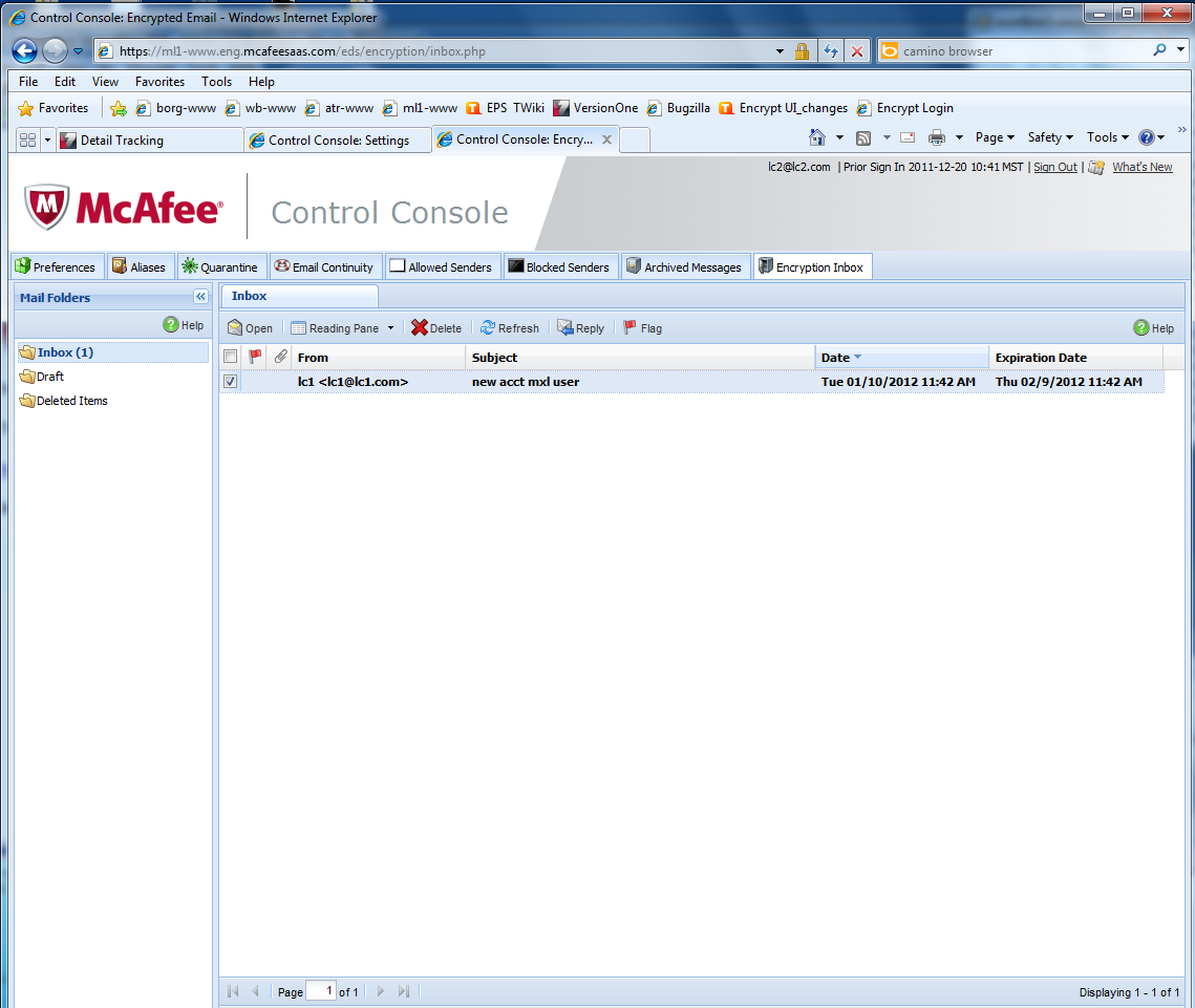 1 Type your McAfee password. 2 Click Sign In. The user Encryption Console inbox displays.