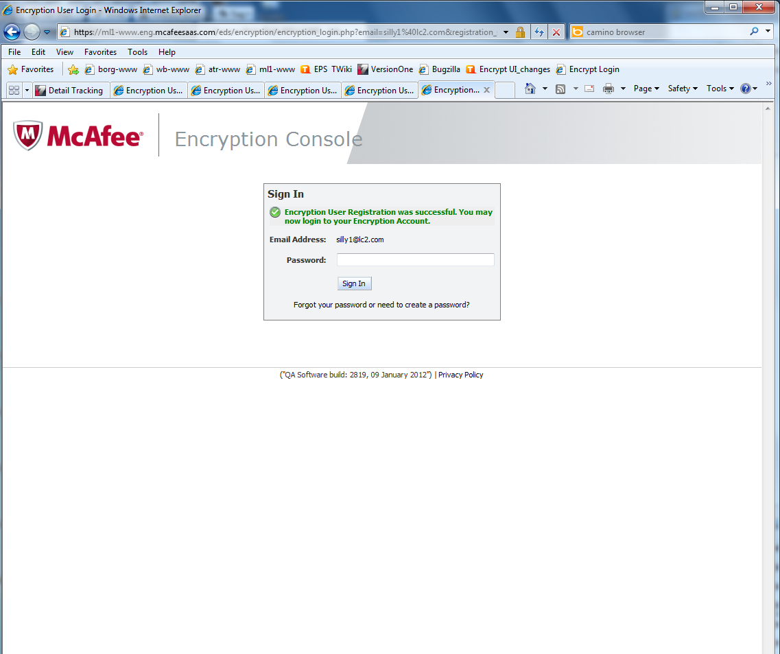 Encryption Console Sign In screen for a non-mcafee user Task 1 The non-mcafee