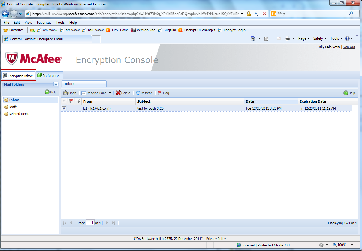 2 The non-mcafee user must click Sign In. The Encryption Console Inbox for a non-mcafee user displays.