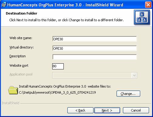 OrgPlus Enterprise Installation CHAPTER 3 8 Enter the Application database OrgPlus user information. Username: Enter the OrgPlus user name. Password: Enter the OrgPlus user password.