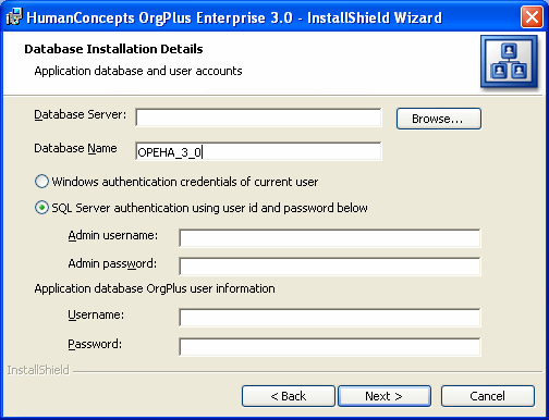 11 Click Next to perform the installation. 12 Click Close to complete the installation. Upgrading OrgPlus Enterprise You can use the installer to upgrade OrgPlus Enterprise.