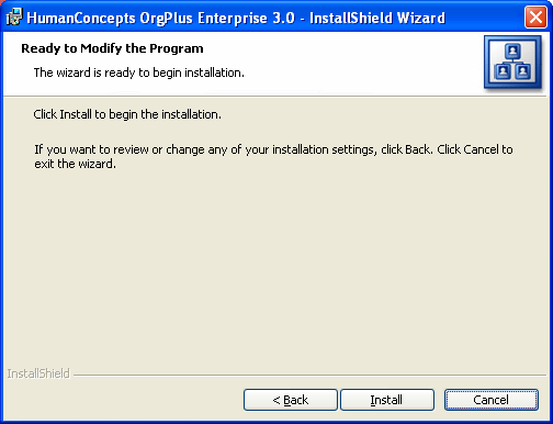 OrgPlus Enterprise Installation CHAPTER 3 SQL Server authentication using user id and password below Select this option if you want the installer to use SQL Server Authentication to connect to SQL