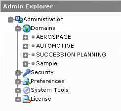OrgPlus Enterprise Setup CHAPTER 5 Domain Configuration The Admin Explorer displays all domains.