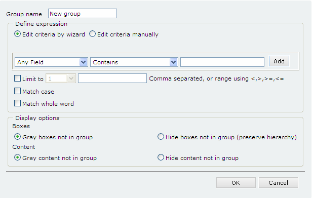 Managing Views CHAPTER 6 You can define any number of groups for a specific domain. Use the Extras tab (in View Properties panel) to make a group available within a view.