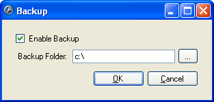 Setup Figure A. Control Center Admin Tool 3. In the Backup dialog box, select the Enable Backup check box to enable the server to backup files. Figure B. Backup dialog box 4.