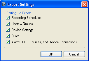 Using the Admin Tool Figure B. Export Settings dialog box The settings listed in the Export Settings dialog box are configured in the Client software.