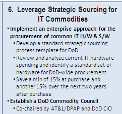 Alignment with DoD CIO 10 Point Plan for IT Modernization: Strategic Sourcing DOD IT MODERNIZATION CONSOLIDATE INFRASTRUCTURE STREAMLINE PROCESSES STRENGTHEN WORKFORCE 1.