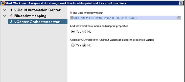 Select the vcenter Orchestrator workflow to add, as shown in Figure 45,