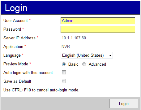 4. The Web Client login screen is shown below. Fig. 101 Web Client Login Screen There are two important differences between the login screen of Web Client and Workstation.