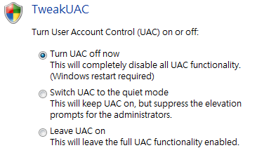 Disabling UAC in Windows Vista and Windows 7 UAC (User Access Control) is a security setting that restricts access in Microsoft Windows Vista.