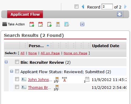 Step 4. Click the plus (+) icon to expand the Applicant Flow Status: Reviewed; Submitted section. Step 5.