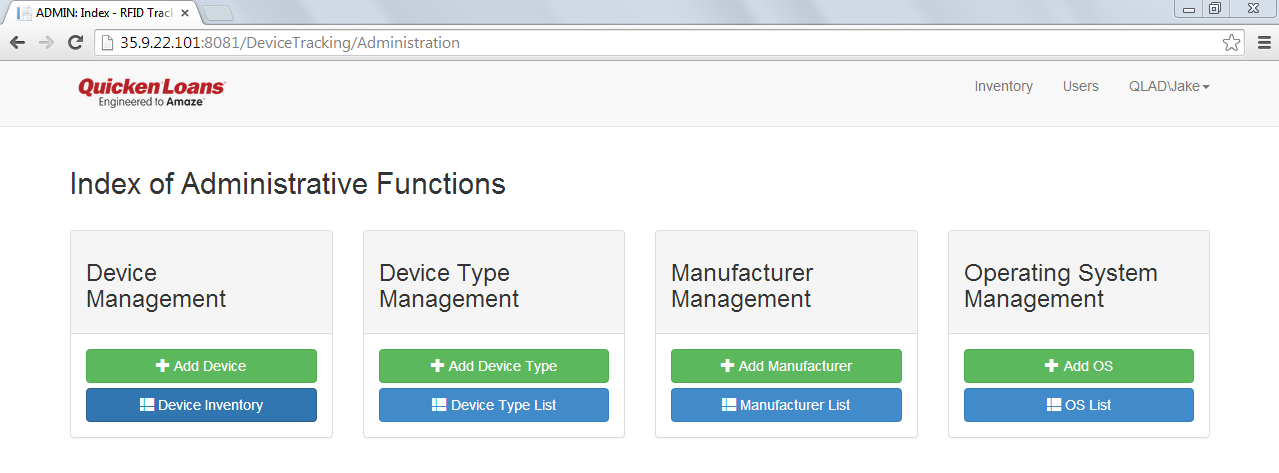 Figure 4: The landing page for administrator functions Figure 4 displays the landing page for administrator functions. From this page, you may manipulate information of devices you wish to track.