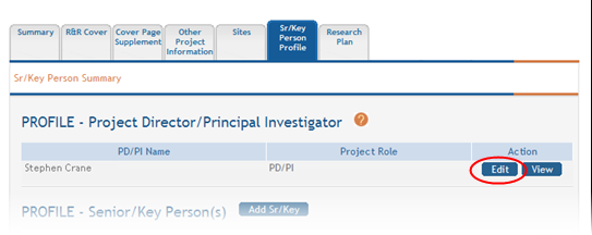 To view the information, select the View button in the Action column for the PD/PI entry in the PROFILE-Project Director/Principal Investigator section of the page.