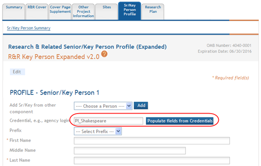 Figure 97: Populate Fields from Credential Button for Senior/Key Person Profile -ORc. Manually enter the first name, last name, address, and phone number information for the person. 3.