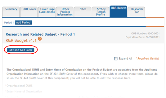 IMPORTANT: Depending on the opportunity, you may be able to add up to five or ten budget periods. Refer to your FOA. 4.7.1 Adding Budget Period 1 To add budget information for Period 1: 1.