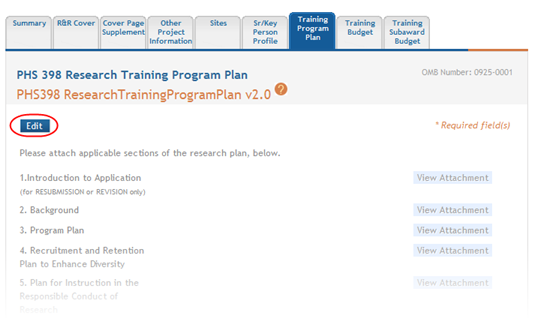 1. Select the Edit button to enable the form for editing. Figure 141: Edit Button on PHS 398 Research Training Program Plan 2.