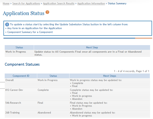 Figure 181: Status Summary Screen 5.2 Update Component Status IMPORTANT: This topic is only applicable to multi-project applications.