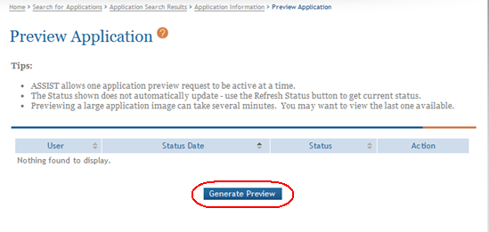 1. Select the Generate Preview button from the Preview Application screen.