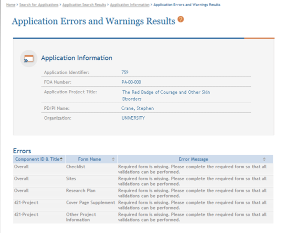 Figure 199: Application Errors and Warnings Results Page for
