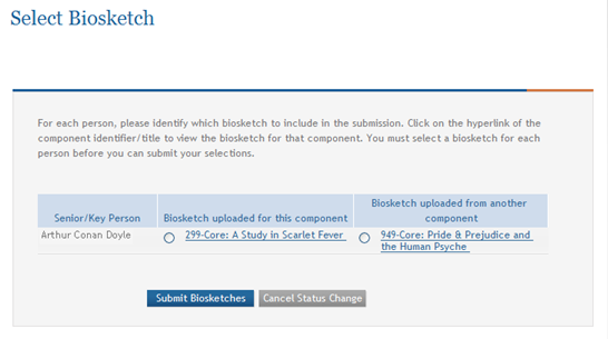 Figure 202: Select Biosketch Page Displays for Definite Match The steps for completing both pages are detailed in the sections that follow. 9.