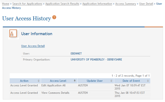 Figure 38: User Access Detail Page 4. Select the View User Access History link.