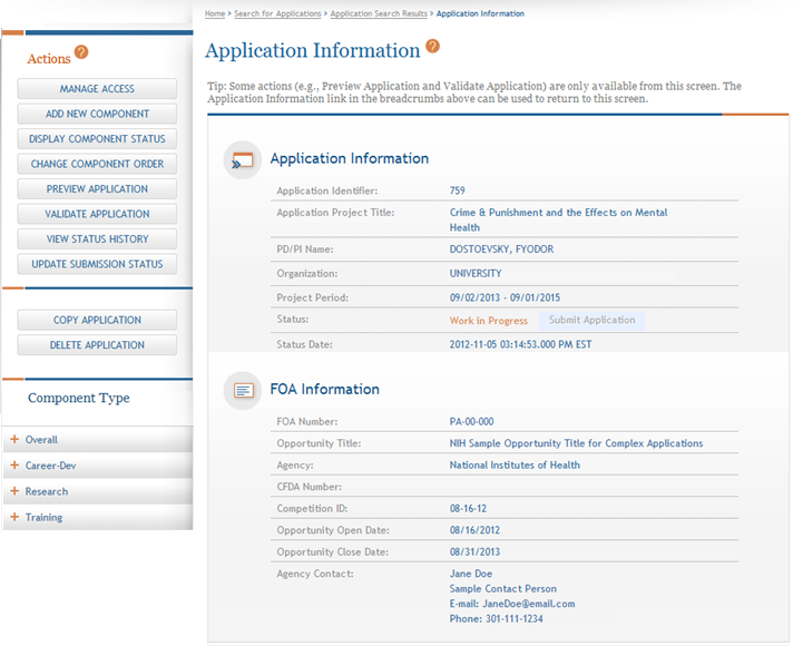 3.2 Application Information The Application Information page is the ASSIST landing page for the entire application.