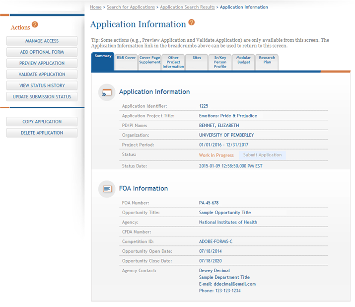 Figure 50: Sample of Application Information Page for a Single-Project Application 3.2.