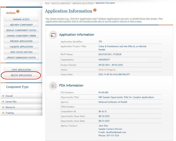1. Open the Application Information page of the application you wish to delete. 2.
