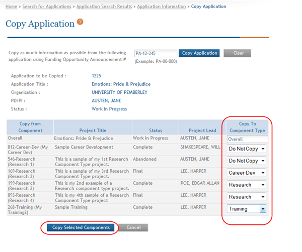 IMPORTANT: You must copy the Overall component and it must be copied to the Overall component of the new application.