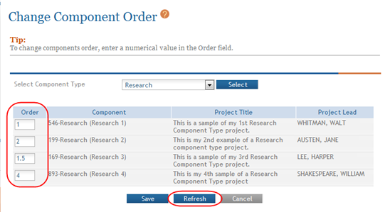 2. Use the text box in the Order column for each component being re-ordered to enter an order value. Make sure to enter a unique value in each Order field.