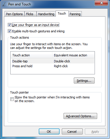 4.3 Windows Pen and Touch Settings The CD display is configured with default touch operations as discussed on page 29. It is recommended to retain these defaults.