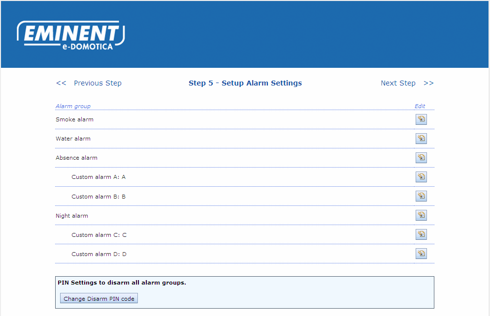 3.5 Step 5 Setup Alarm Settings 12 ENGLISH Image 7 - Alarm groups Step 5 allows you to setup several alarm groups at your own desire.