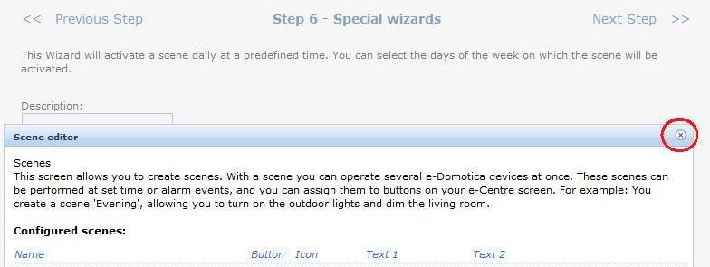 23 ENGLISH Image 16. Click on the x button (shown in the red circle) to close this window) 3.6.2 Sensor Triggered Scene You can use the EM6581 Motion Sensor to trigger a scene.
