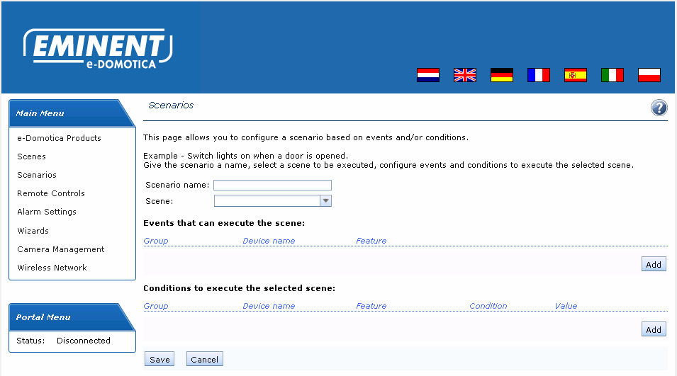 39 ENGLISH Image 28 Add a new Scenario Enter a name for this scenario and select a scene you have created earlier to use in this scenario.