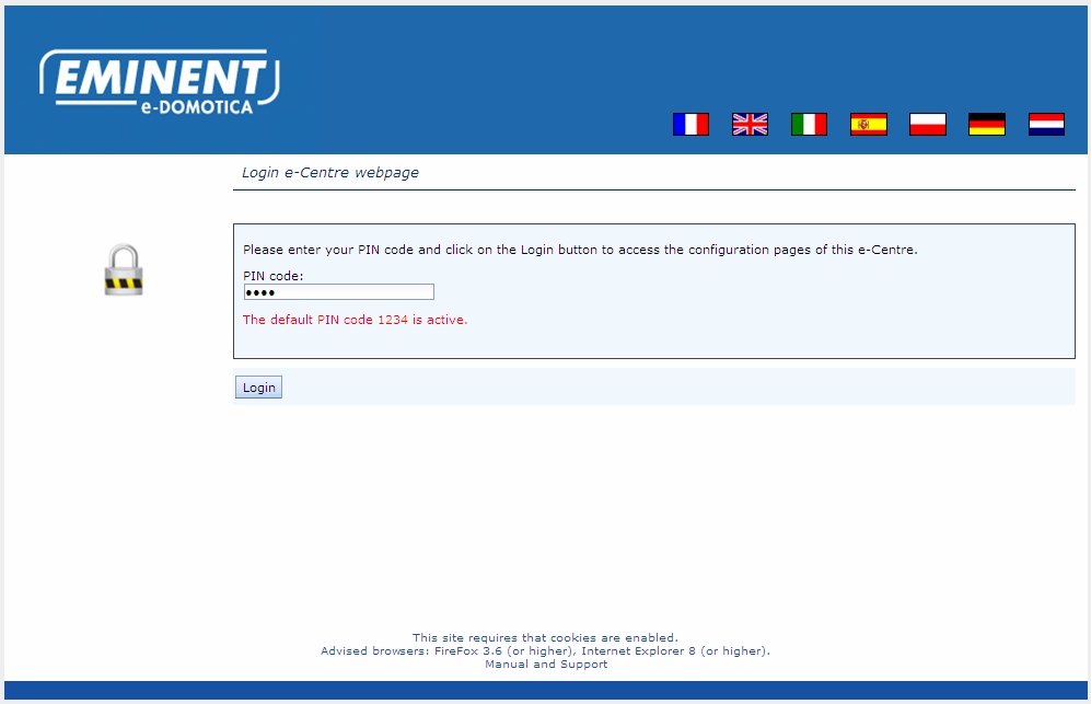 5 ENGLISH 4. Start-up your computer. 5. Open a web browser like Firefox, Chrome or Internet Explorer. 6. Empty the address bar and enter http://ecentre/ to open the local webpage of the e-centre 2.