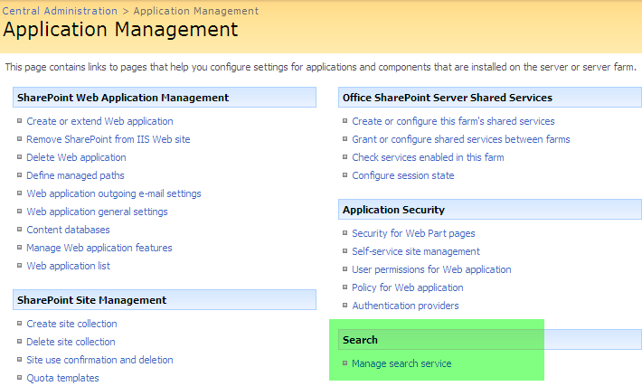 26 17. Now we can check the status of our scaled out Search Service. 18. Click on the Application Management Tab 19.