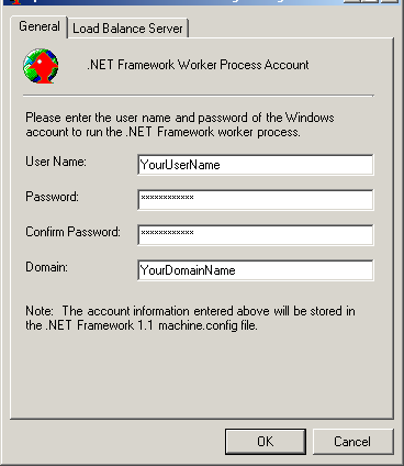 Hyperion FDM Installation Guide 2a. Windows 2000 - Within the Web Config Manager, enter the Windows account user name, password, and domain for the.net web process to run under.