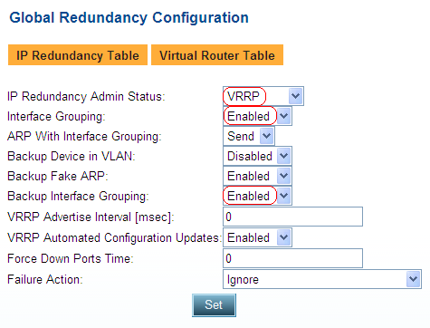Primary AppDirector VRRP Configuration The Virtual Router Redundancy Protocol (VRRP) is designed to eliminate the single point of failure inherent in the static default routed environment.