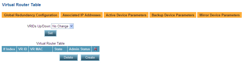 2. Click the Set button to save the parameters. Backup Virtual Routers 3.