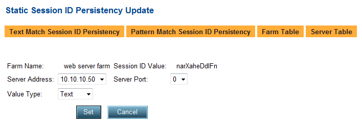Select narxaheddlfn from the Static Session ID Persistency page to display