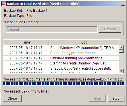 on the toolbar iv. Select [Local Hard Disk (Seed Load Utility)] to start backing up your files to local hard disk and press the [OK] button v.