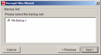 If you have more than one backup set under the files directory, select the [Backup Set]