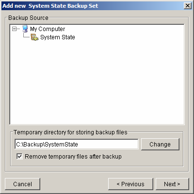 c. Use the [Change] button to configure the [Temporary directory for storing backup files] setting and check the [Remove temporary files after backup] if you want temporary files to be removed